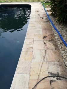 Sandstone pavers with algae and dirt geelong