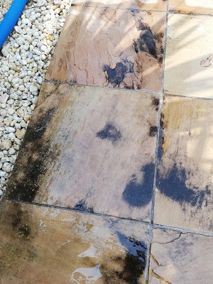 Sandstone paver before pressure clean armstrong creek
