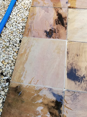 Sandstone paver after pressure clean Armstrong Creek